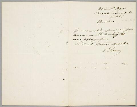 Lettre autographe signée Achille Piron à Eugène Legrand, Paris, 9 octobre 1863