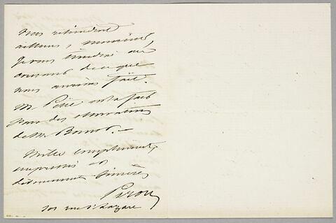 Lettre autographe signée Achille Piron à Eugène Legrand, 14 octobre 1863