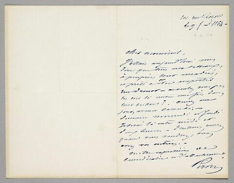 Lettre autographe signée Achille Piron à Eugène Legrand, Paris, 9 février 1864