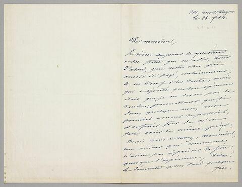 Lettre autographe signée Achille Piron à Eugène Legrand, Paris, 26 février 1864