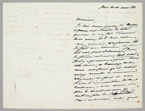 Lettre autographe signée Achille Piron à Eugène Legrand, Paris, 10 août 1864