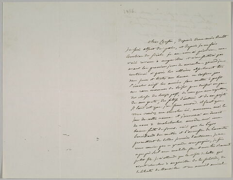 Lettre autographe signée Pierre-Antoine Berryer destinée à Eugène Delacroix, 1er octobre 1856