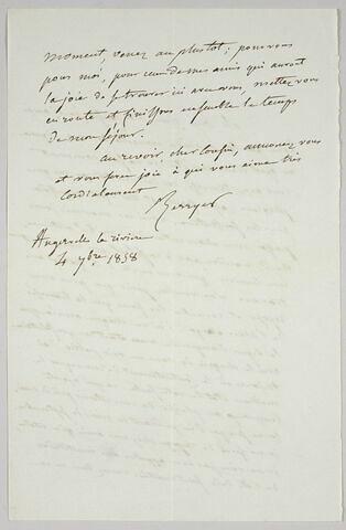 Lettre autographe signée Pierre-Antoine Berryer à Eugène Delacroix, 4 septembre 1858