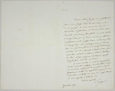 Lettre autographe signée Pierre-Antoine Berryer destinée à Eugène Delacroix, 19 octobre 1858