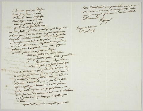 Lettre autographe signée Pierre-Antoine Berryer destinée à Eugène Delacroix, Angerville la Rivière, 1er nov. 58
