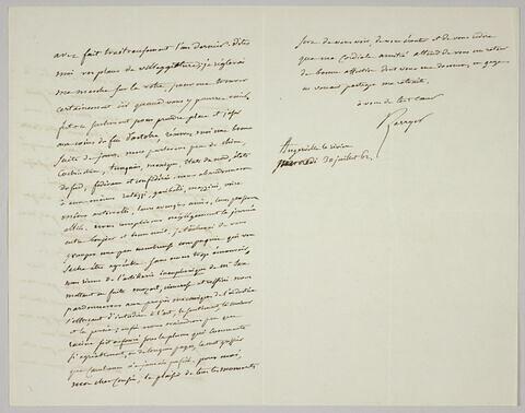 Lettre autographe signée Pierre-Antoine Berryer destinée à Eugène Delacroix, 30 juillet 1862