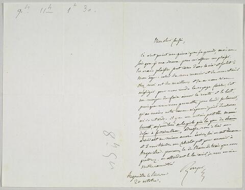 Lettre autographe signée Pierre-Antoine Berryer destinée à Eugène Delacroix, Angerville la Rivière, 20 octobre [1854]