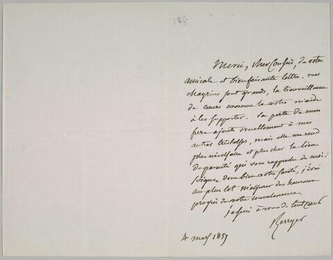 Lettre autographe signée Pierre-Antoine Berryer destinée à Eugène Delacroix, 4 mars 1857