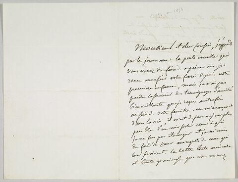 Lettre autographe signée Pierre-Antoine Berryer destinée à Eugène Delacroix, 7 janvier