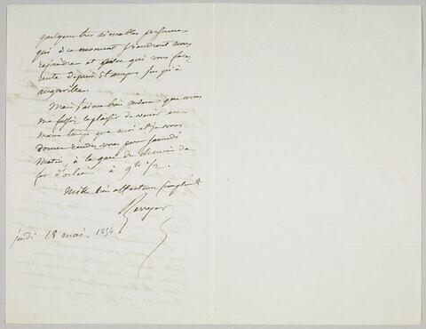 Lettre autographe signée Pierre-Antoine Berryer destinée à Eugène Delacroix, jeudi 18 mai