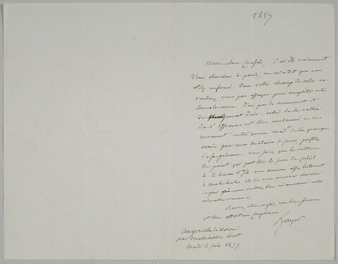 Lettre autographe signée Pierre-Antoine Berryer destinée à Eugène Delacroix, 2 juin [1857]