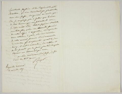 Lettre autographe signée Pierre-Antoine Berryer destinée à Eugène Delacroix, Angerville la Rivière 8 novembre 1857