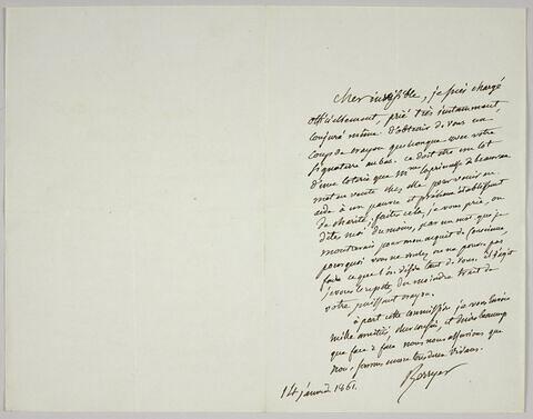 Lettre autographe signée Pierre-Antoine Berryer destinée à Eugène Delacroix, 14 janvier 1861