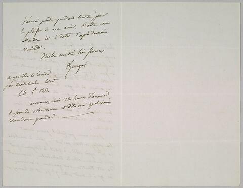 Lettre autographe signée Pierre-Antoine Berryer à Eugène Delacroix, 24 octobre 1855