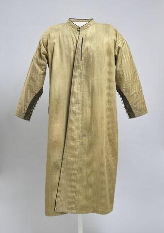Djellaba d'homme marocaine en satin de coton jaune à rayures bleues