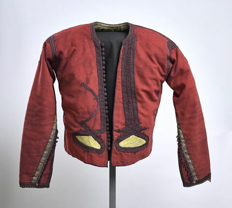Veste marocaine en drap de laine rouge à décor de passementerie