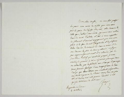 Lettre autographe signée Pierre-Antoine Berryer destinée à Eugène Delacroix, 8 octobre