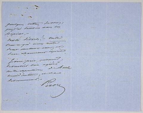 Lettre autographe signée Achille Piron destinée à Pierre-Antoine Berryer, 19 août 1863