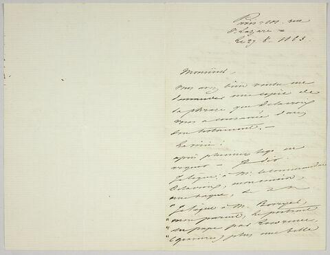 Lettre autographe signée Achille Piron destinée à Pierre-Antoine Berryer, 27 août 1863