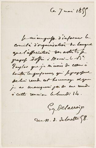 Lettre autographe signée à MM. Bolle-Lasalle et Thuillier, Paris, 7 mai 1855