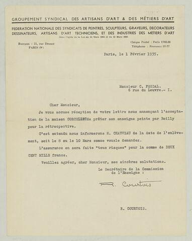 LS R. Courtois à Charles Fegdal, 1er février 1935