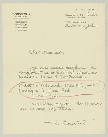 LAS R. Courtois à Charles Fegdal, 28 février [1935?]