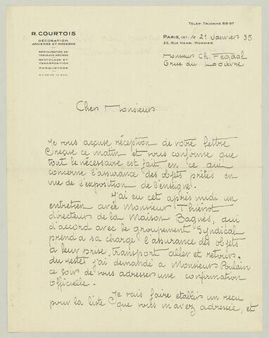 LAS R. Courtois à Charles Fegdal, 21 janvier 1935