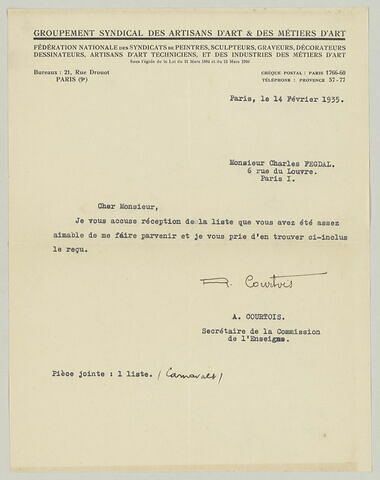 LS R. Courtois à Charles Fegdal, 14 février 1935