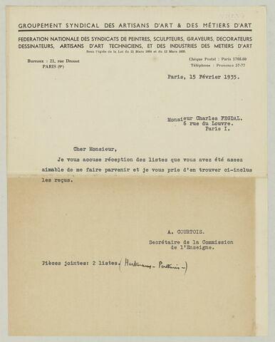 LS R. Courtois à Charles Fegdal, 15 février 1935