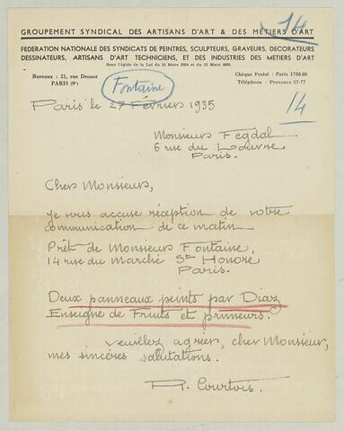 LAS R. Courtois à Charles Fegdal, 27 février 1935