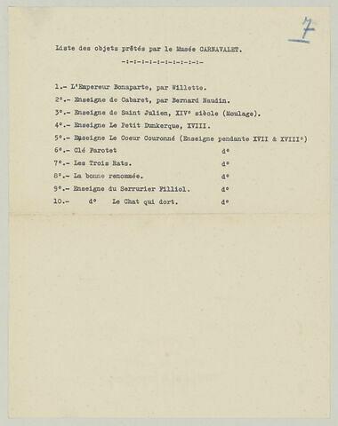 Liste de prêts d'enseigne : Musée Carnavalet