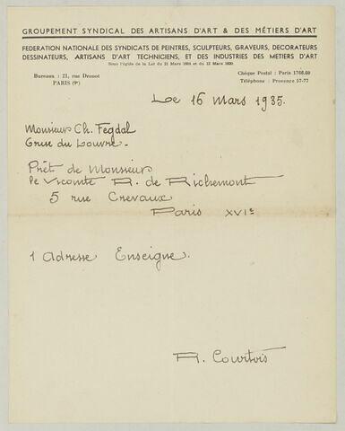 Reçu signé R. Courtois, 16 mars 1935