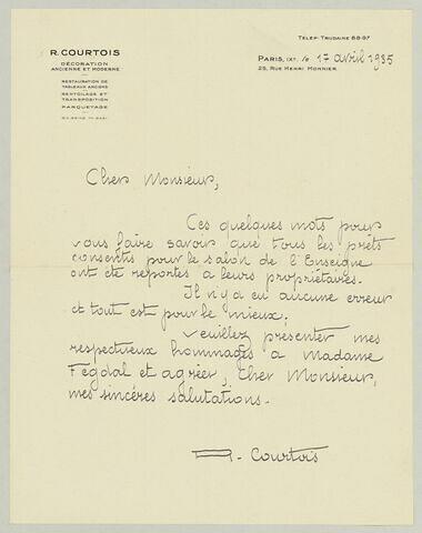 LAS R. Courtois à Charles Fegdal, 17 avril 1935