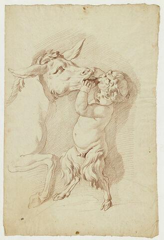 Un jeune faune jouant avec un âne