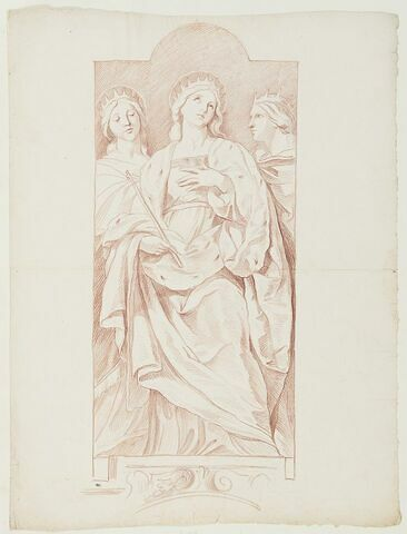 Trois saintes debout, couronnées