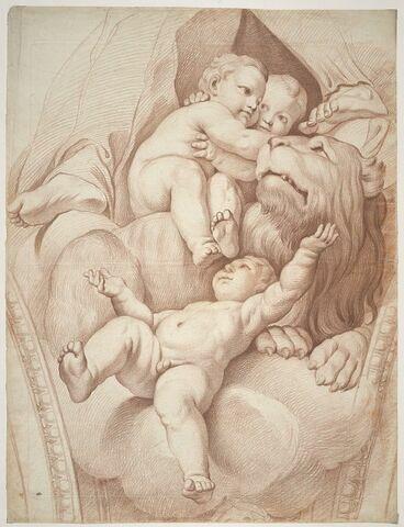Trois enfants nus, près d'un lion, et pieds