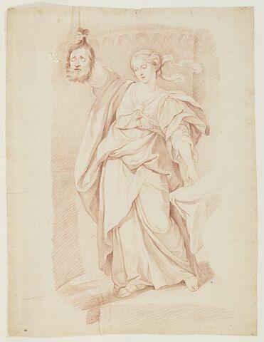 Judith, debout, tenant la tête d'Holopherne