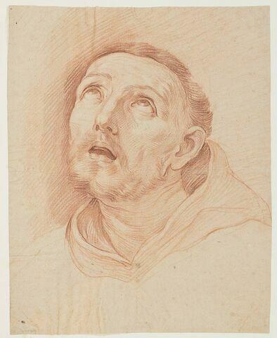 Tête de saint François, vue de face, les yeux au ciel