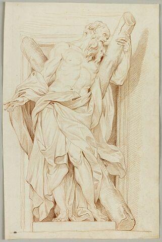 Saint André debout, appuyé sur sa croix, tourné vers la droite
