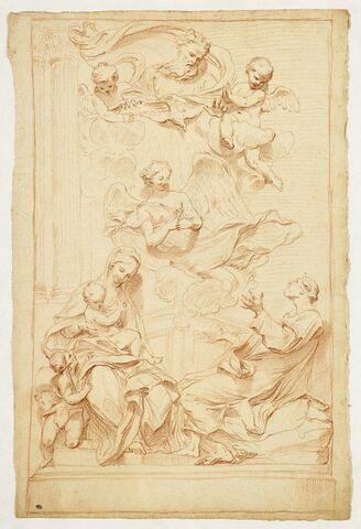 Dieu entouré d'anges devant la Sainte Famille et le petit saint Jean