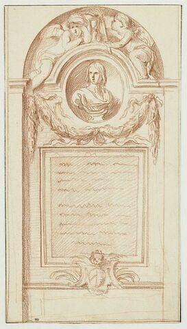 Un tombeau orné d'un buste d'homme au-dessus d'une stèle avec inscription