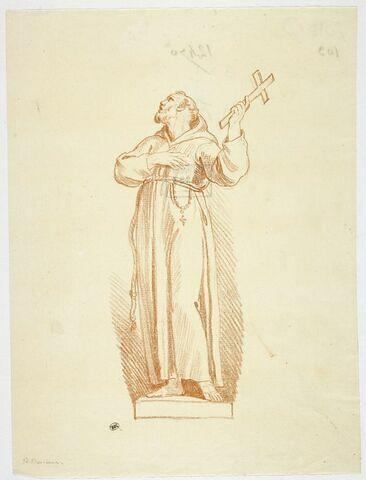 Saint François debout, une croix dans la main gauche