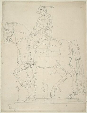 Statue équestre d'Henri IV, vue sous son côté gauche, avec indications de mesures