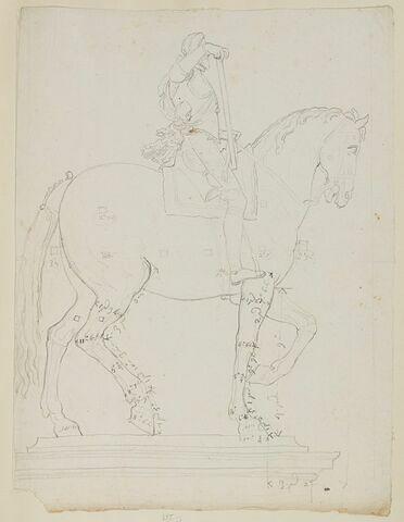 Statue équestre d'Henri IV, vue sous son côté droit, avec indications de mesures