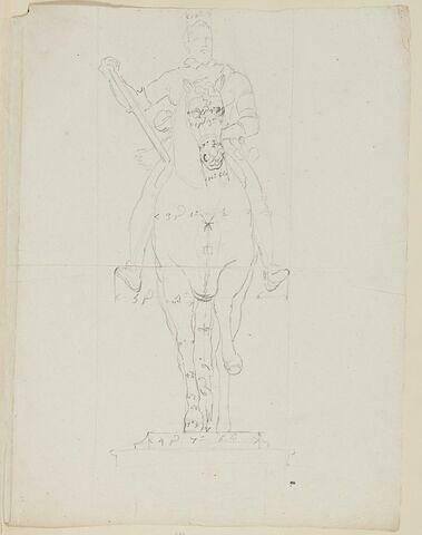Statue équestre d'Henri IV, vue de face, avec indications de mesures