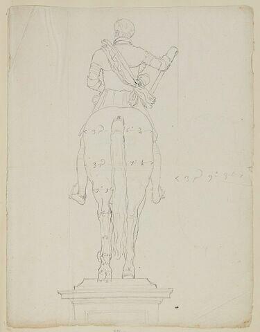 Statue équestre d'Henri IV, vue de dos, avec indications de mesures