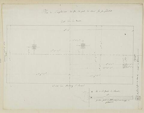 Plan de l'emplacement des fers des pieds de la statue équestre de Louis XV
