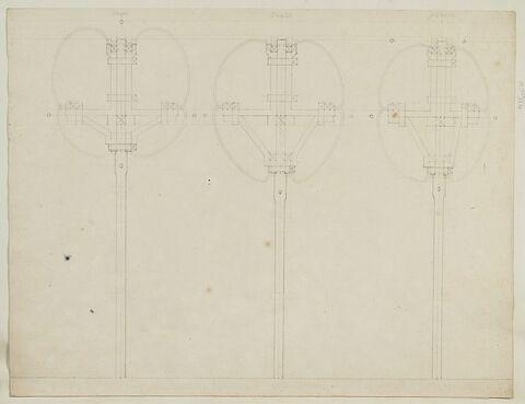 Trois coupes verticales de la statue équestre de Louis XV
