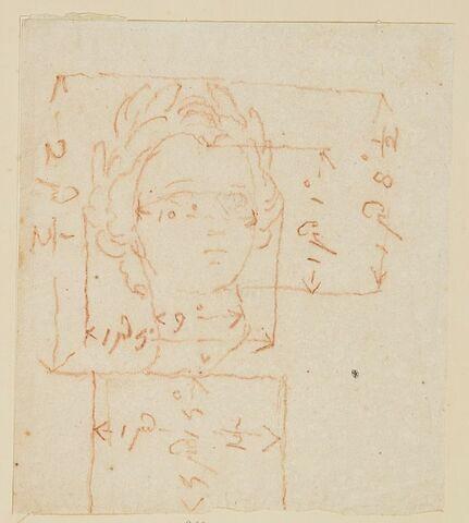 Croquis de la tête de Louis XV pour la statue équestre