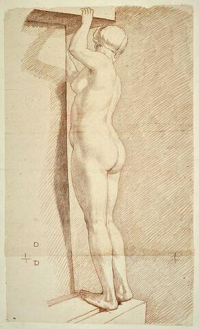 Femme nue, debout, tournée à gauche, vue de trois quarts par le dos